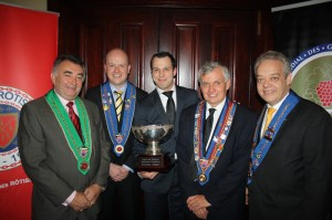 Chaîne Officials Norm Harrison, Sam Giddings, John Studdert and Joerg Boeckeler with National Finals winner Pier-Alexis Souliere (Centre)